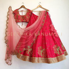 Bollywood Red sparrow embroidery design Lehenga choli
