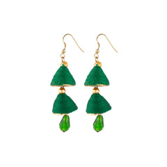 Aradhya Designer Crystal Drop Green Thread Jhumki Earrings for Women and Girls