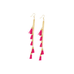 Aradhya Fashion Lightweight Hook Dangler Hanging Earrings with Pink Tassels Beads