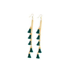 Aradhya Fashion Lightweight Hook Dangler Hanging Earrings with Green Tassels Beads