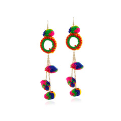 Aradhya Designer Hook Dangle Tassel Long Funky Earrings with Pompoms for Girls