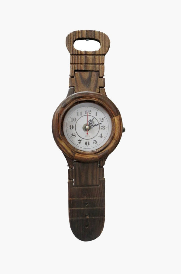 Desi  Karigar Wooden Belt Shape Clock