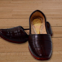 Brown Leather Shoe - Round Tip
