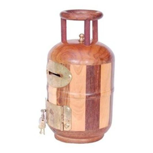 Desi Karigar Wooden Money Bank Cylinder Shape