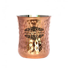 IndianCartVilla Steel Copper Special Hammered Glass 350 ML