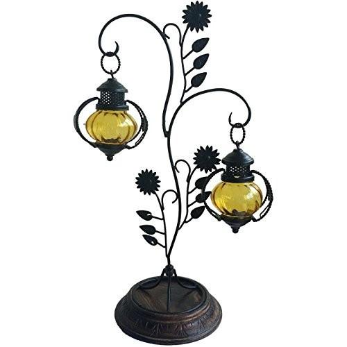 Desi Karigar Attractive Glass with Metal Candle Stand Lantern