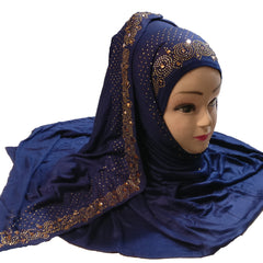 DarkBlue Color Diamond Stone Work Hosiery Cotton Women's Scarf