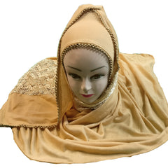 Beige Color Moti Work And Net Lace Hosiery Cotton Women's Scarf