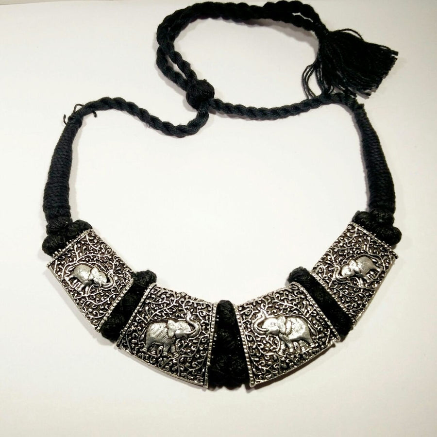Silver oxidized necklace1 - Baazkart