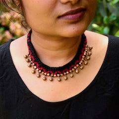 Maroon Dhokra Necklace