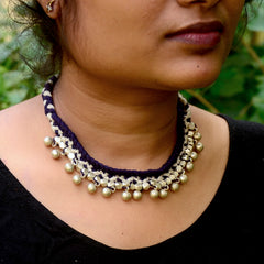 Blue Choker Dhokra Necklace