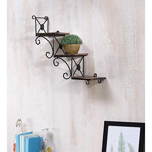 Desi Karigar Beautiful Wooden Wall Hanging Shelve a unique Wall Art in stair Shape