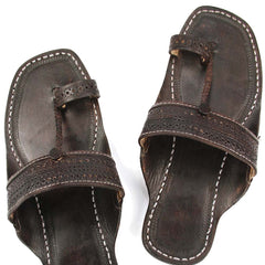 Good looking dark brown punching kolhapuri chappal for men