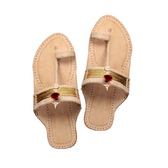 Beautiful golden jari kolhapuri chappal with pointed shape