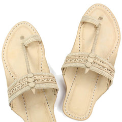 Awesome natural pointed kolhapuri chappal for men