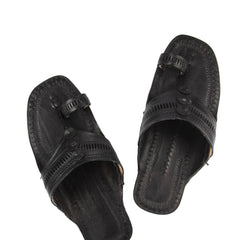 Pretty black designers kolhapuri chappal for men