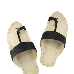 Pleasing triangular black  belt kolhapuri chappal for men
