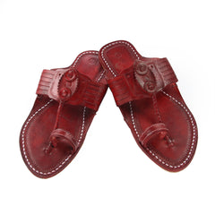 Gorgeous cherry red kolhapuri chappal for men