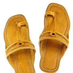 Light yellow authentic kolhapuri chappal for ladies