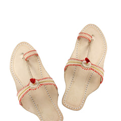 Good looking natural red laces kolhapuri for women