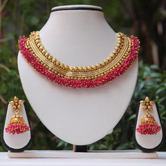 Artificial pink lariya Short Necklace Set