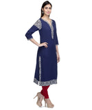 Laabha  Women Cotton Navy Blue Straight Kurti