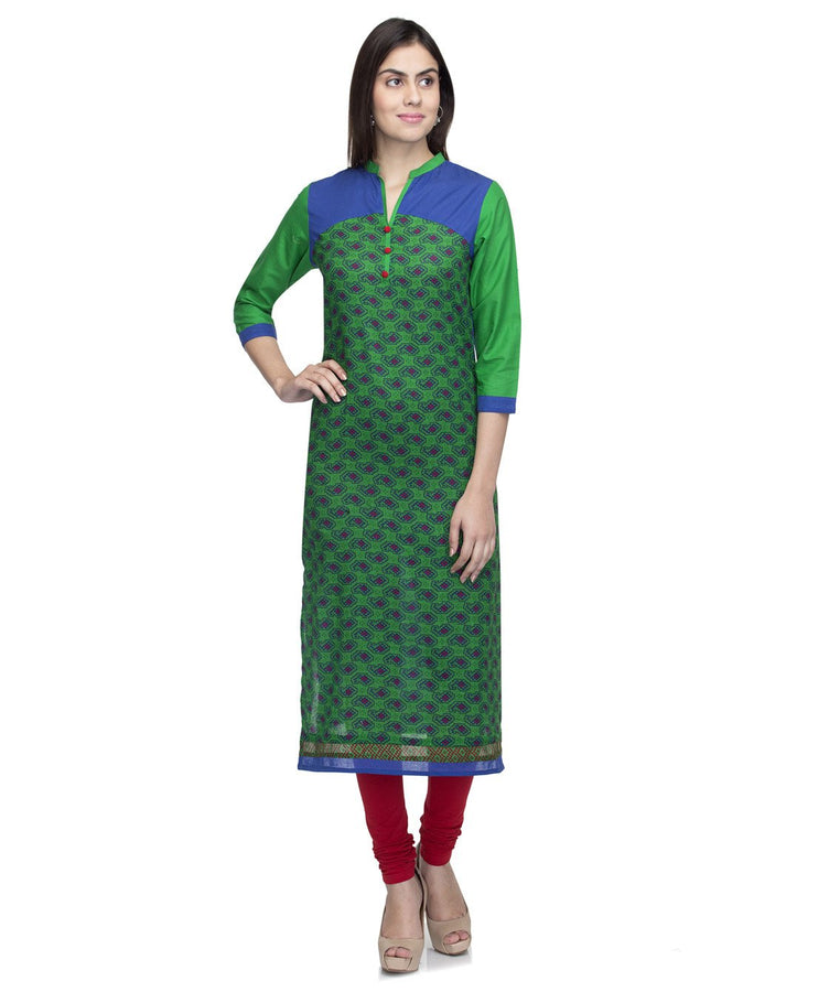 Laabha  Women Cotton Green Printed Yoke Straight Kurti