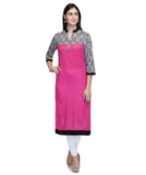 Laabha  Women Cotton Megenta Straight Yoke Kurti
