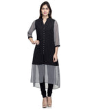 Laabha  Women Crepe Black Cut Flair Bottom A Line Kurti