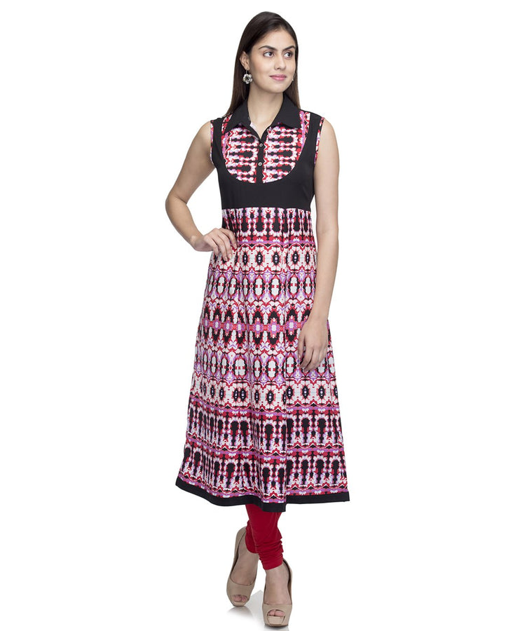 Laabha  Women Crepe Black Pink Printed Fancy Yoke A Line Kurti
