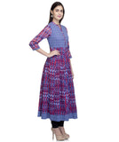 Laabha  Women Cotton Megenta Semi Festive Anarkali Kurti