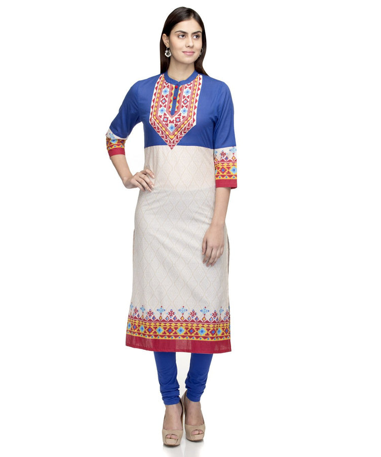 Laabha  Women Cotton Being Front Fancy Yoke Straight Kurti