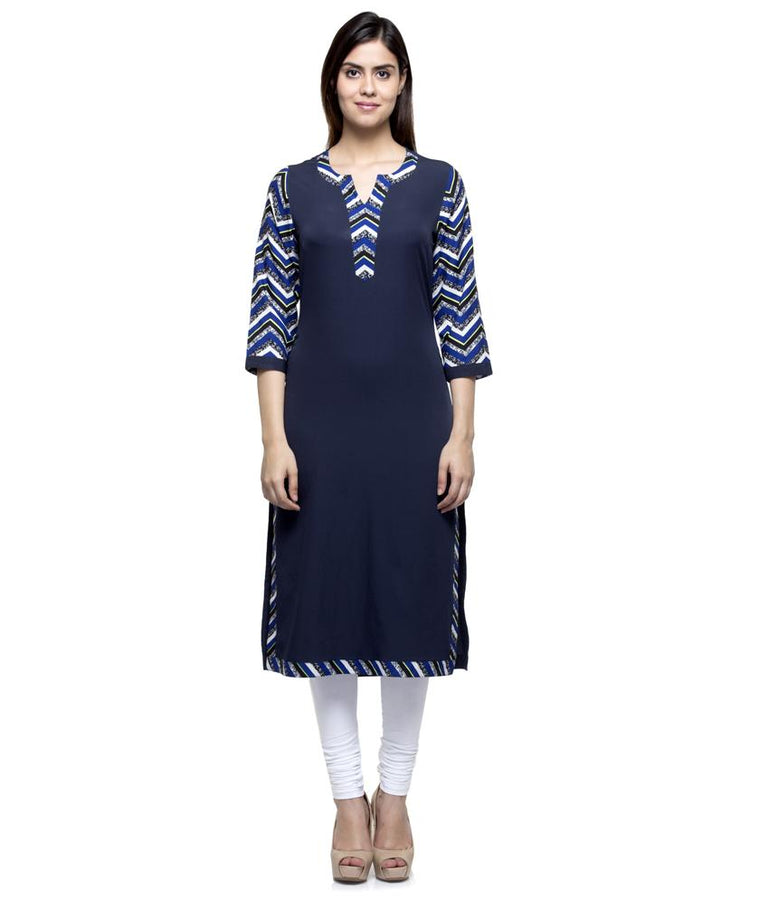 Laabha Women Crepe Royal Blue Printed Straight Kurti