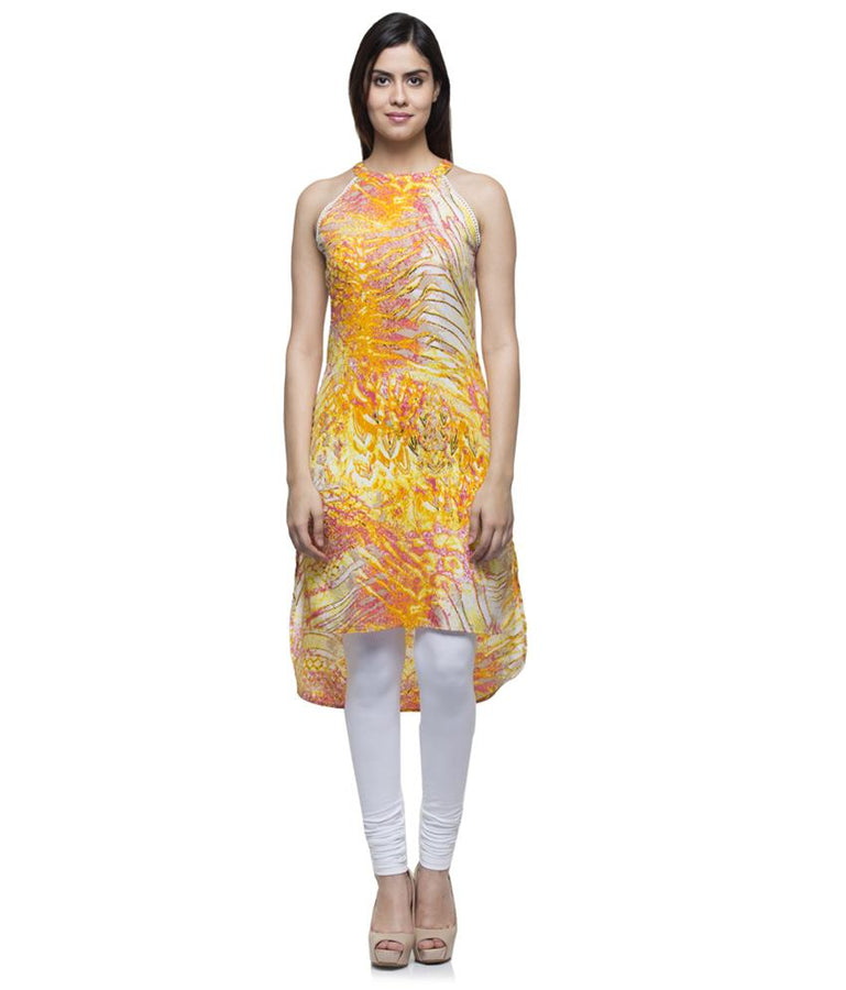 Laabha Women Crepe Multi Printed Apple Cut Straight Kurti
