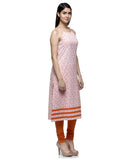 Laabha Women Cotton Orange Straped Printed Fancy Kurti