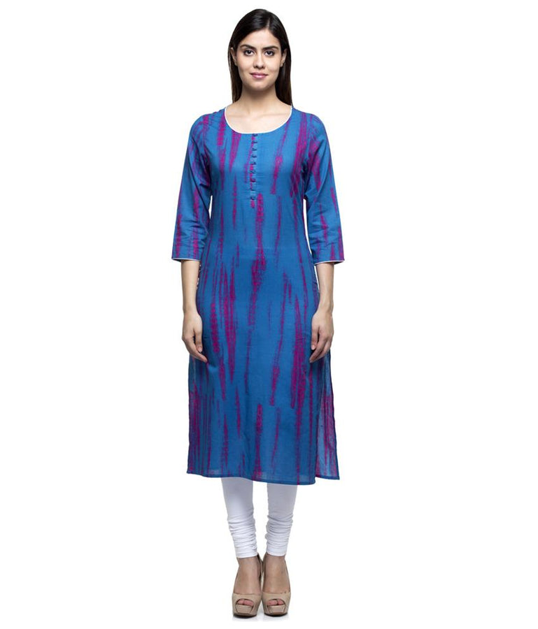 Laabha Women Cotton Blue Printed Straight Kurti