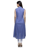 Laabha Women Cotton Blue Front Slit With Button A-Line Kurti