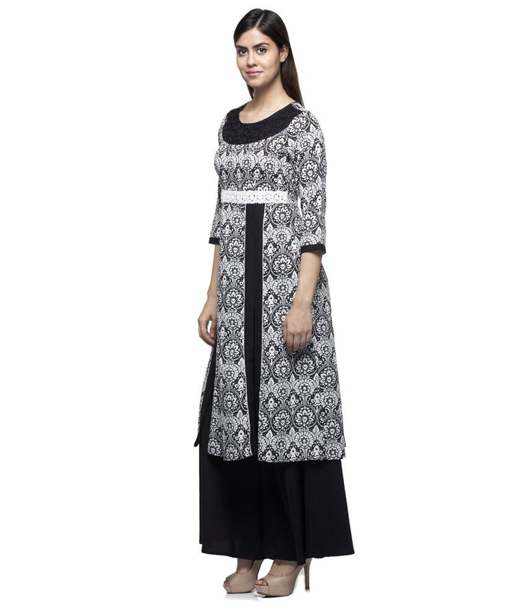 Laabha Women Crepe Black Printed Front Slit Cut With Lace Fancy Kurti
