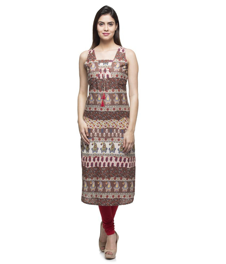 Laabha Women Cotton Multi Printed Apple Cut With Jacket Attached Fancy Cord Straight Kurti