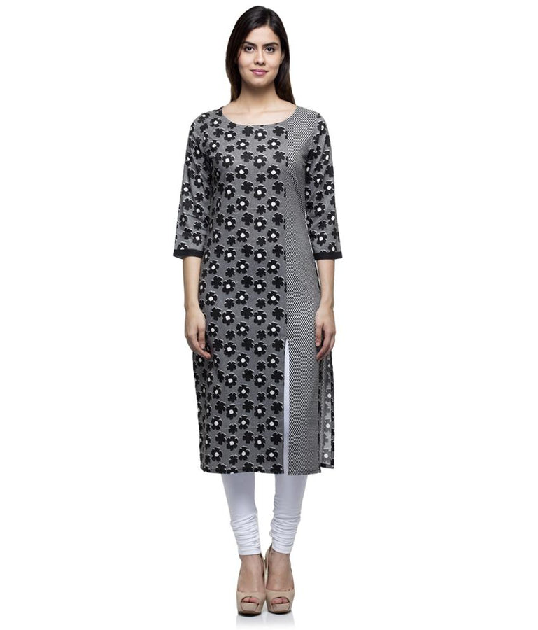 Laabha Women Rayon Black Front Slit Cut Straight Kurti