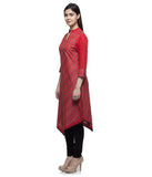 Laabha Women Cotton Red (V) Shape Bottom A-Line Kurti