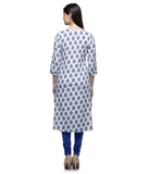 Laabha Women Rayon White Printed Block Pannel Cut Straight Kurti