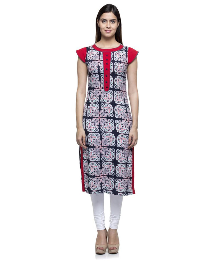 Laabha Women Crepe Multy Printed Front Button Straight Kurti