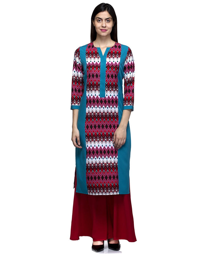 Laabha Women Crepe Multi Printed With Side Panneled Kurti
