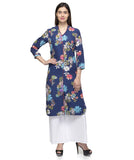 Laabha Women Blue Crepe Front Button And Slit Cut Straight Kurti