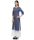 Laabha Women Blue Cotton With Front Button Straight Kurti
