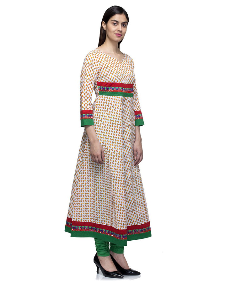 Laabha Women Multi Printed Cotton With Fancy Lace Semi Festive Anarkali Kurti