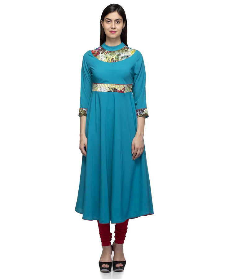 Laabha Women Blue Crepe With Printed Yoke A-Line Kurti