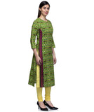 Laabha Women Green Cotton Front Panneled Straight Kurti