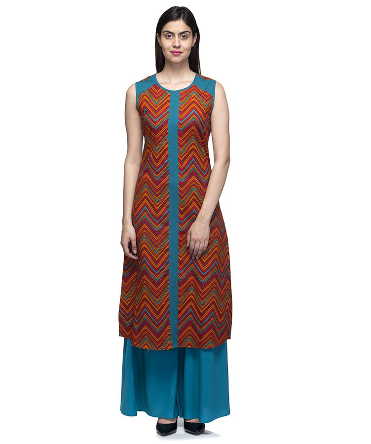 Laabha Women Orange Cotton Summer Printed Straight Kurti